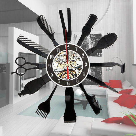 Hairdresser Salon Tool Art Vinyl Black Record Wall Clock Home Room Decor Gift