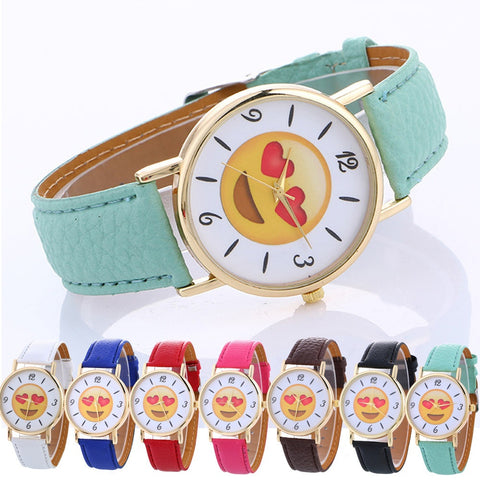Emoji Expression Fashion Leather Quartz Wrist Watch