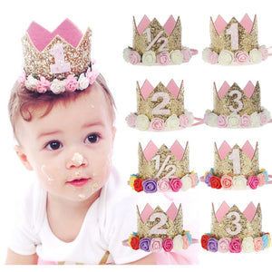 1Pc Birthday Crown Headband for Baby Girls Half 1st 02nd 03rd Birthday