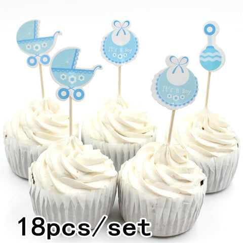18 pcs/set Baby Boy/Girl Party Cupcake Topper Picks Decoration