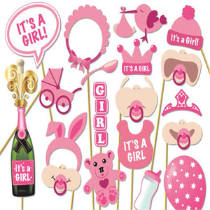 Baby Shower Its A Girl Pink Photo Booth Props Photobooth DIY Kits on Sticks Perfect Baby Shower Babyshower Decoration Favor Gift