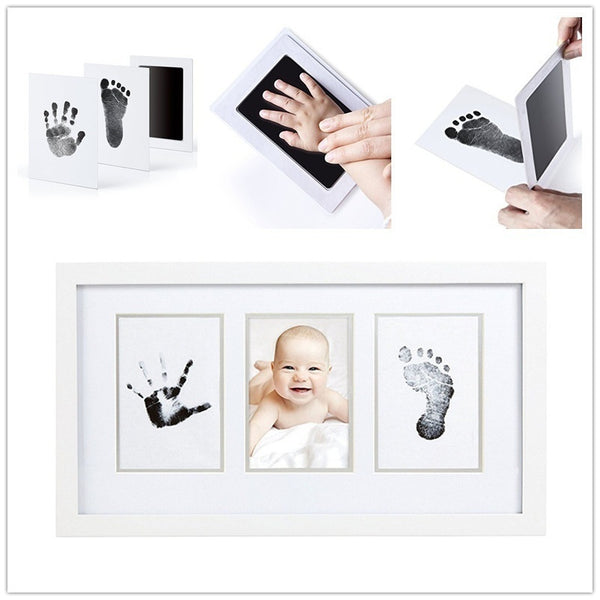 "OAKEER Baby Inkless Safe Newborn "" Clean-Touch"" Handprint and Footprint  Ink Pads Kit With White Cards , 100% Non-Toxic & Mess F"