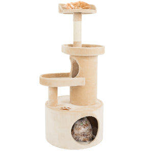 Cat Tree Condo with Tunnel 4 tier 43in high with scratching post tan