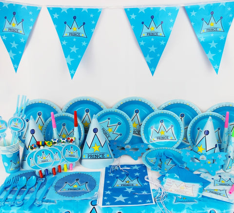 78pcs/ Prince Crown Theme Party Supplies Birthday Party Pack