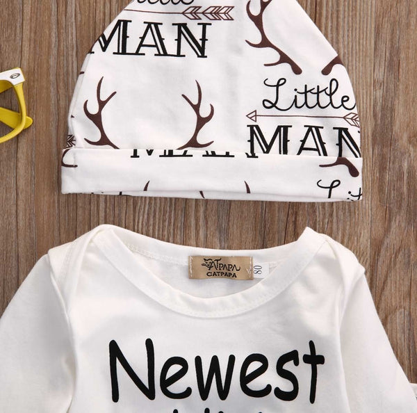 Family New Addition Baby Boys deer Tops Romper Pants Legging Hat Outfits Set