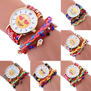 Stylish Emoji Nylon Weave Bracelet Womens Wrist Watch