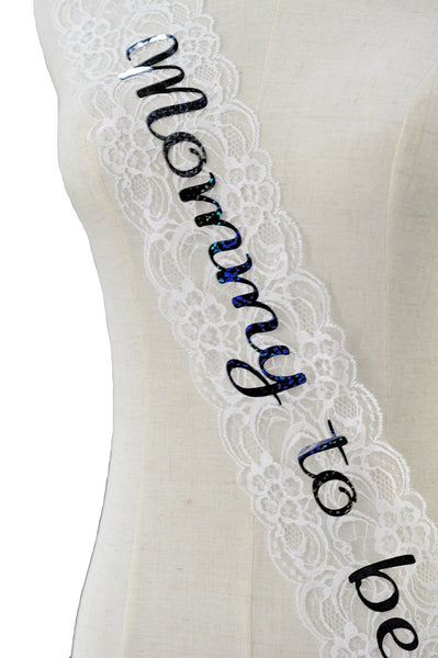 Elegant Lace Mommy to Be Sash (color: white)