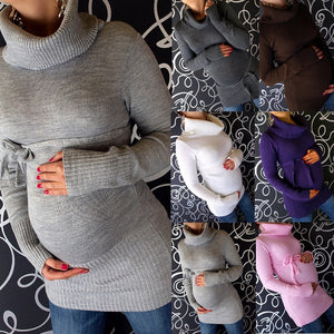 Plus Size S-5XL 6 Colors New Womens Maternity Pregnancy Sweater Jumper Top Long Sleeve Turtleneck Knitwear