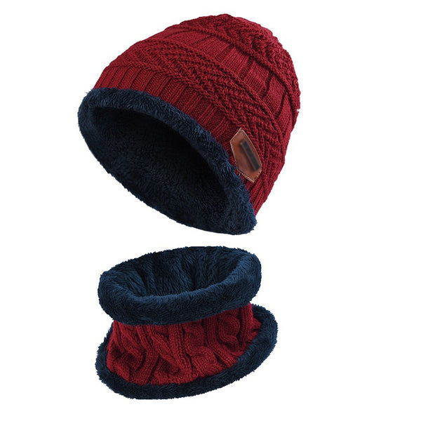 2 Pcs Christmas Kids Winter Warm Knitted Hat and Circle Scarf Set