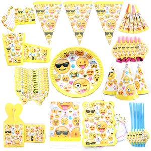 Emoji Theme Party Set Balloon Tableware Plate Napkins Banner Birthday Candy Box