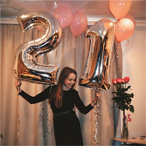 1 Pc 32 inch Rose Gold Digit Foil Number Balloons Number Inflatable Air Balloon