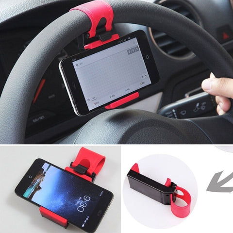 1PC Universal Car Phone Holder , Car Steering Wheel Phone Holder Bicycle Mobile Stand Suporte Para Celulart Suporte Celular Carr