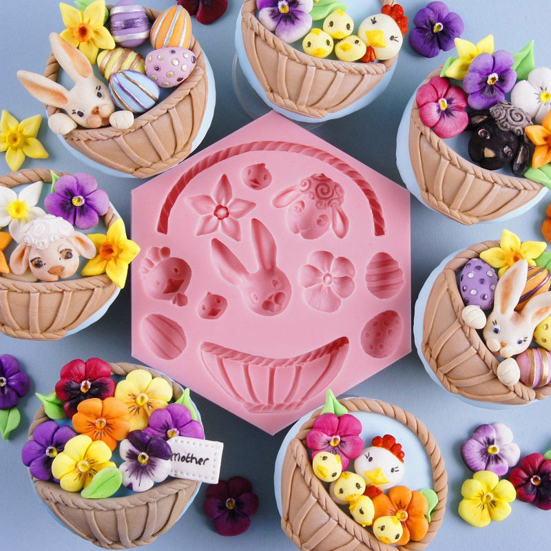 Mujiang DIY Easter Bunny Egg Chocolate Fondant Molds Cake Decorating Tools Flower Basket Animals Cupcake Candy Fimo Clay Moulds