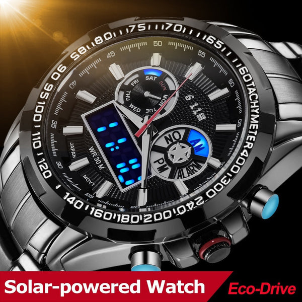 Black Men's Multi-function Wristwatch Sports Watches Full Steel 30M Waterproof Digital Military Watch with Gift Box