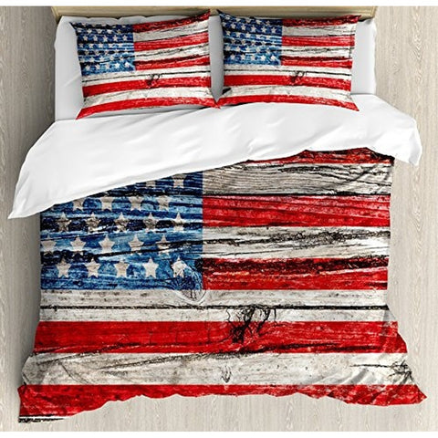 Rustic American USA Flag Duvet Cover Set King Size by Ambesonne, Fourth of July Independence Day Painted Wooden panel Wall Looki
