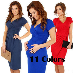 11 Colors Summer Fashion Maternity Clothes Dress For Pregnant V-neck Short-Sleeve Cotton Pregnancy Dress Summer Elastic Waist Ma - Hoot & Nanny