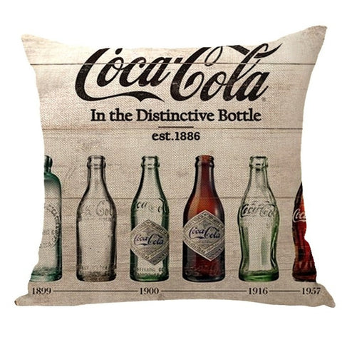 Coca-Cola / Pepsi Car Cushions Sofa Pillowcase Office Cafe Square Polyester Watercolor Pillowcase