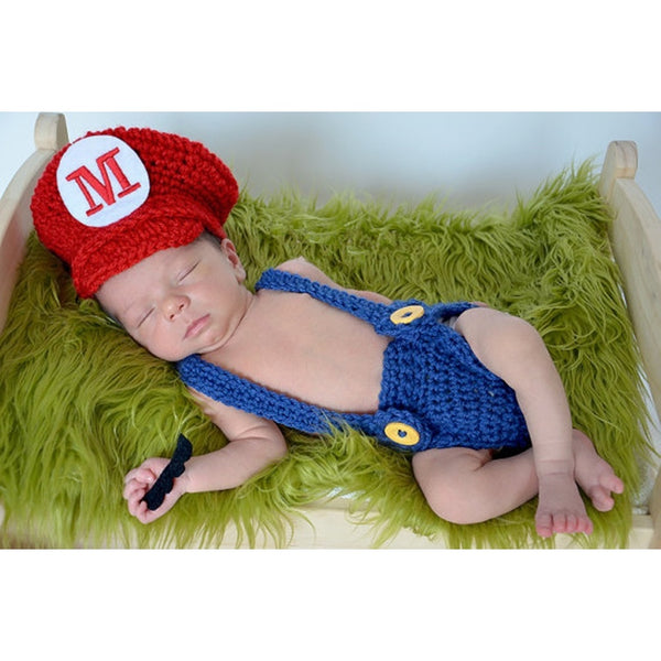 Newborn baby boys girls cute crochet knitted handmade Mario hat shorts overalls Clothes costume photography prop outfits