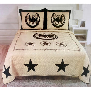 3 Piece Texas Western Design Star Barbed Wire Quilt BedSpread Comforter Style - Horse Shoe
