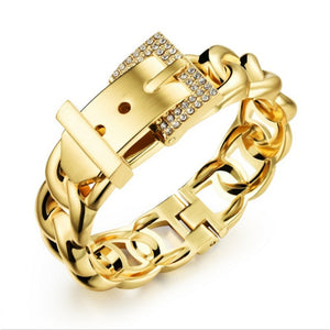 18K Gold Punk Women Jewelry Smooth Simply Girl Bracelet 18mm Wide Bracelet Crystal Paved Clasps Belt Buckle