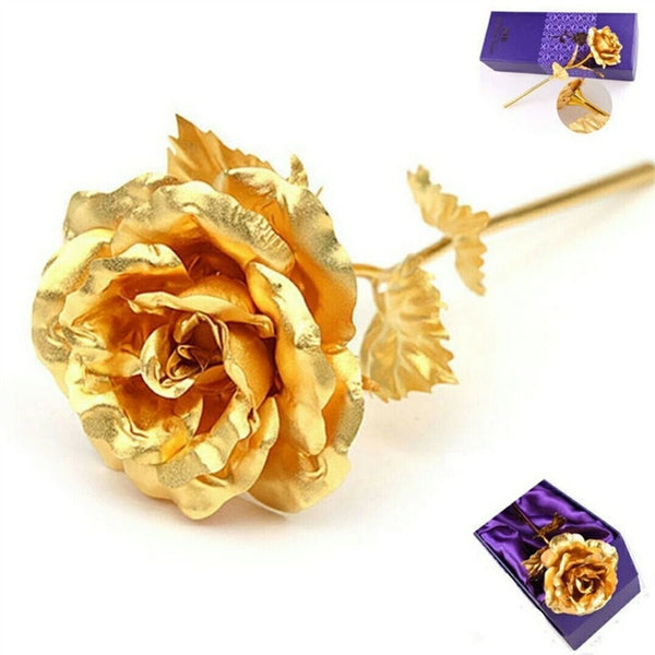 Handmade Genuine Rose Preserved Dipped in 24K Gold Rose Last's Forever Gifts for Valentine's Day