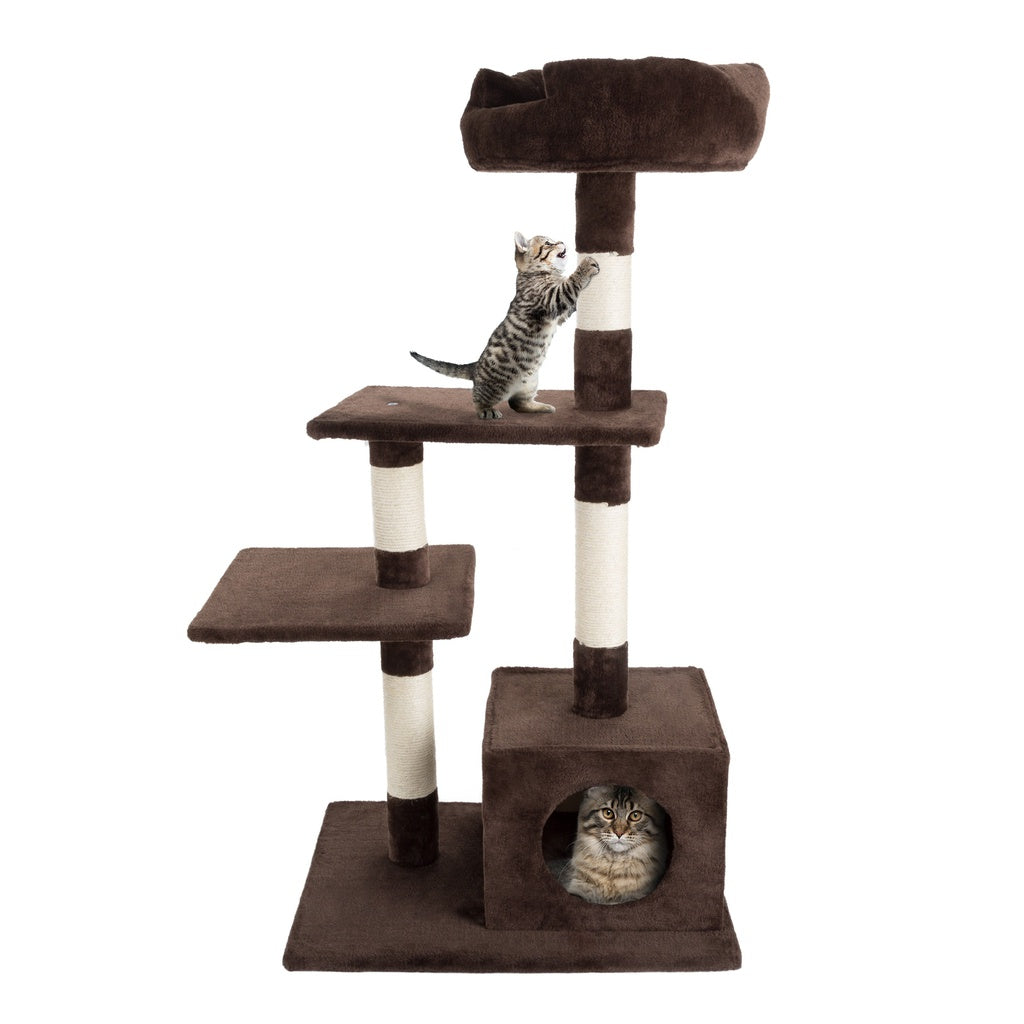 Cat Tower Condo 43 Inch Scratching Post Perch Bed Cat House with Sleeping Cave