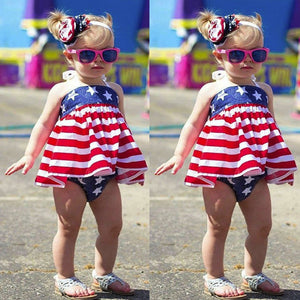 New 2018 New 2Pcs Infant Baby Girls 4th Of July Star Stripe Dress+Shorts Outfits Set Clothes