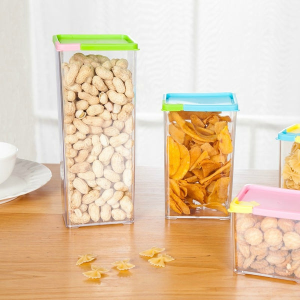 Kitchen Food Storage Box Plastic Canister Seal Pot Snacks Box