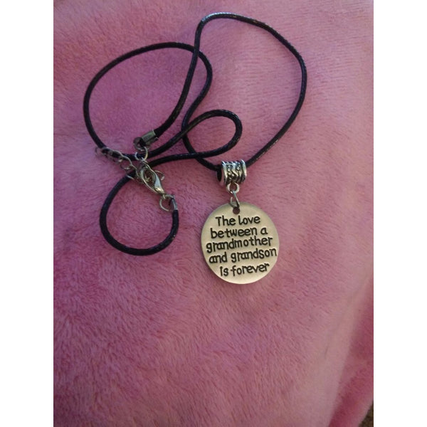 Love Between Grandmother and Grandson is Forever Necklace Grandma Gifts Family Jewelry (Size: One Size)