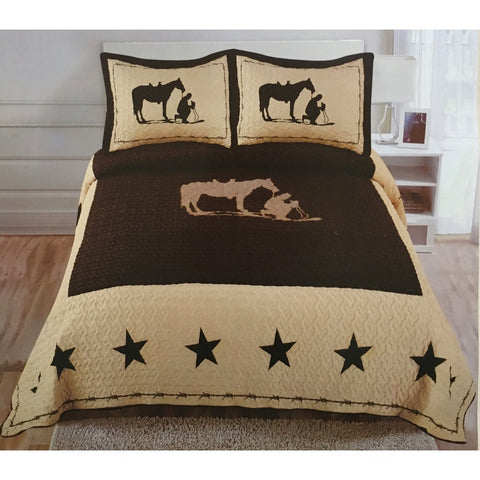 Praying Cowboy Horse Star Western Brown Quilt Bedspread