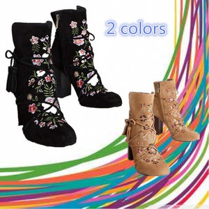 Fashion Women's Shoes Vintage Embroidered heels Boots Belt Buckle Pointed High-heeled Knight Boots