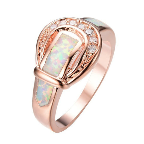 Sz 6 7 8 9 10 New Creative Leather Belt Style Fire Opal Ring 10KT Rose Gold Filled Jewelry Gift Charm