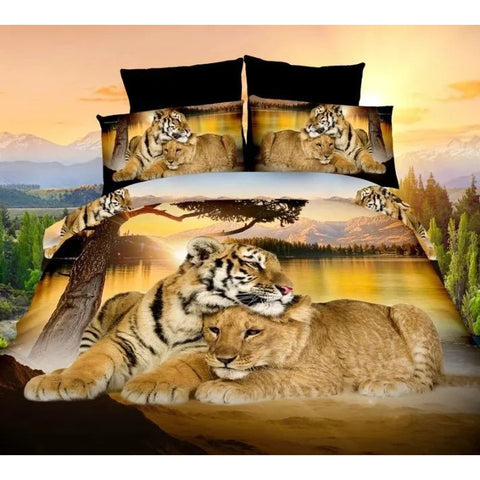 4PCS Bed Linen Set  Tiger and Lion 3D Oil Printing Bedding Set  Home &lving  Bed Clothes 3D Comforter Cover Bed Sheet Set Pillow