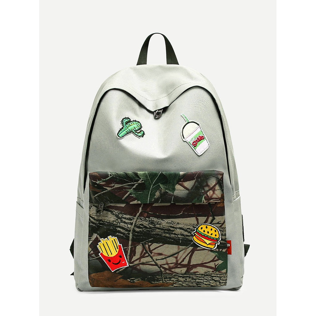 Patch Decor Zip Around Backpack