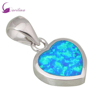 High quality suppliers 925 Sterling Silver jewelry Fashion Jewelry Heart Blue Fire Opal pendants P169 (Color: Blue)
