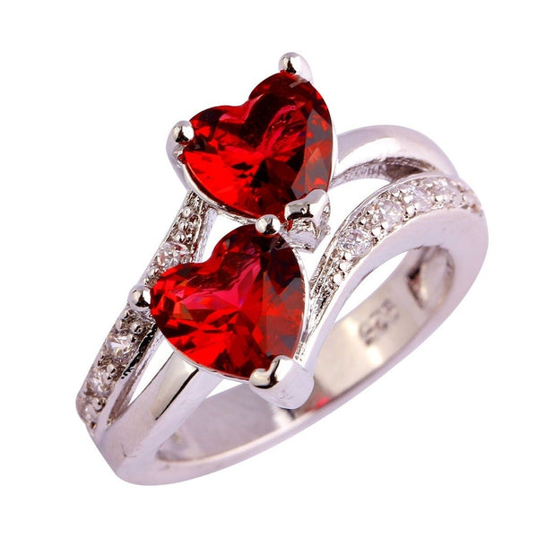 lingmei Fashion Heart Cut Wedding Ruby Spinel & White Topaz Gemstone Silver Ring Size 6 7 8 9 10 11 12 13