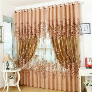 Luxurious Upscale Jacquard Yarn Curtains Peony Pattern Voile Door Window Curtains Living Room Bedroom Decor 2016 Magic Fashion