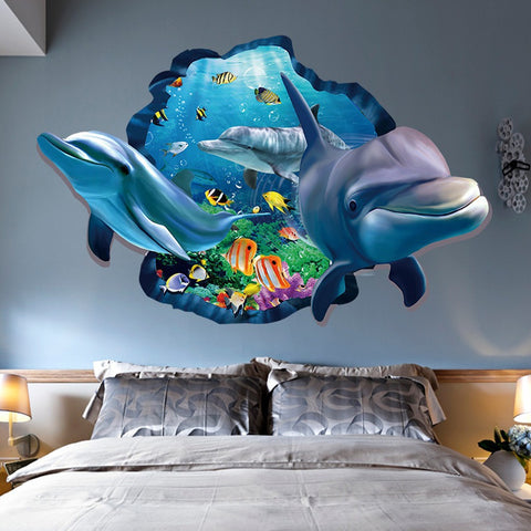 New Special Design 3d Effect Underwater World Dolphin Fish Background Wall Stickers Fashion Home Decoration ZHH1058/er (Color: M
