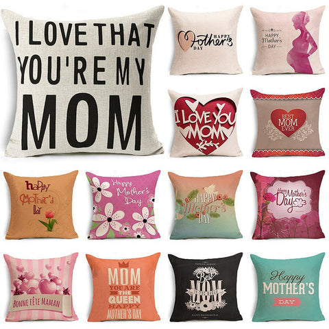 Mother's Day Pillow Covers Letters Pillowcase Cotton Linen Throw Pillow Cover Festival Pillow Case