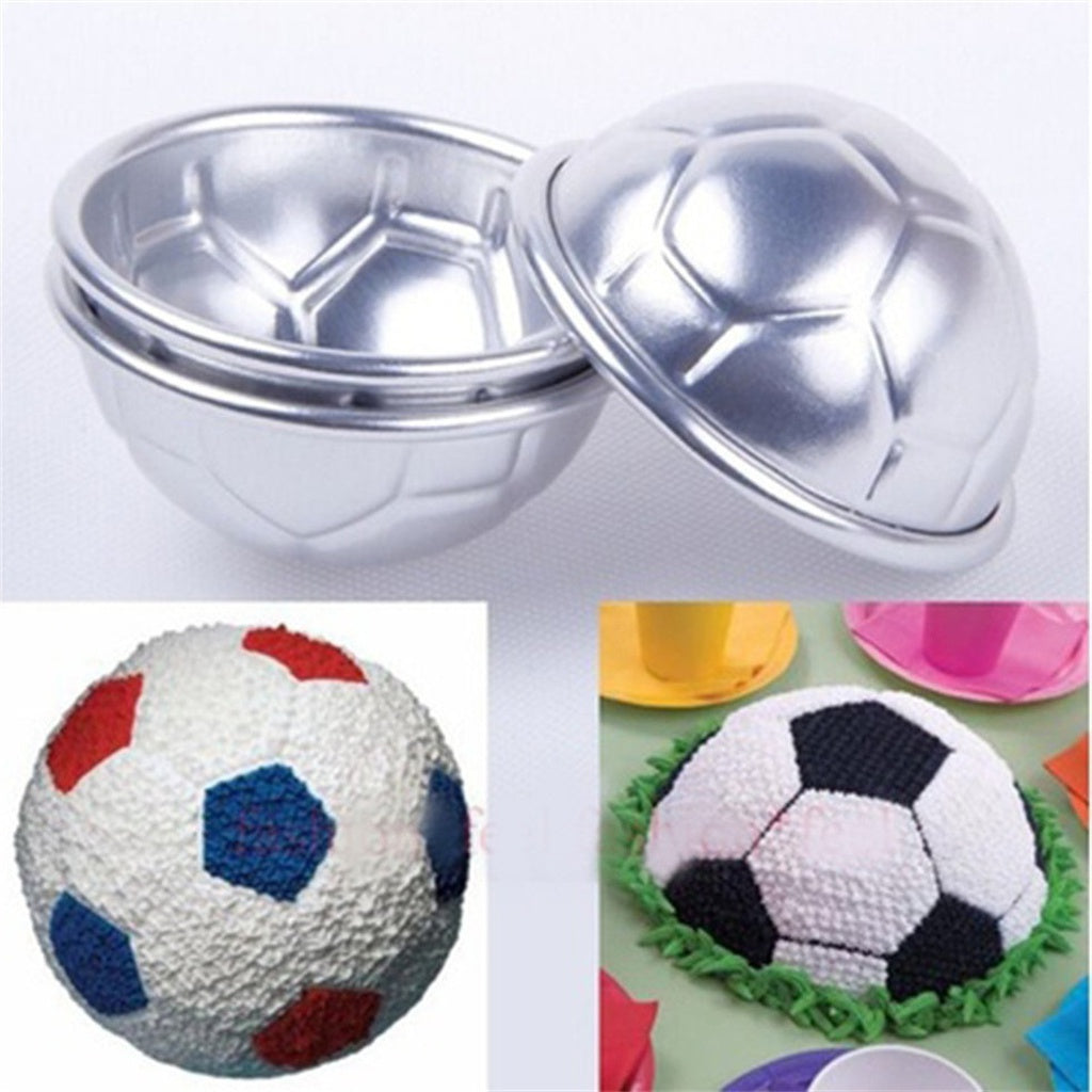 Discount Store 1Pcs 3D Football Soccer Diy Cake Baking Mold (Color: Silver)