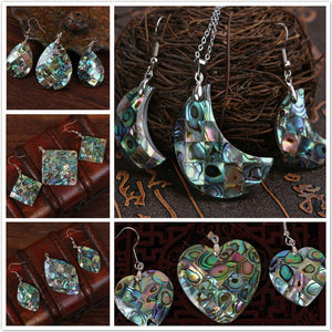 Multiple Styles Natural Abalone Shell Dangle Hook Shell Women's Necklace Pendant Drop Earring Jewelry