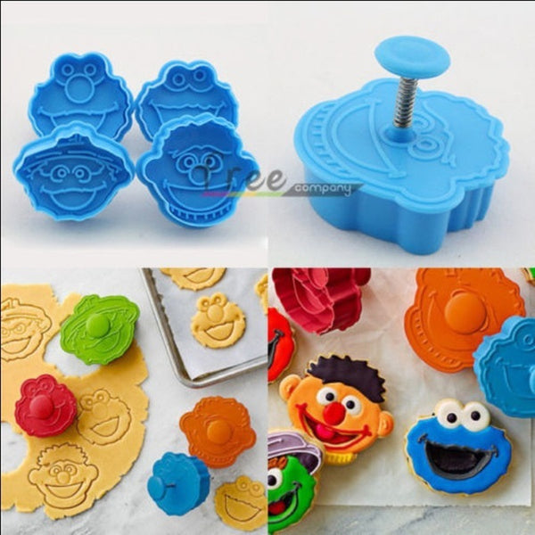 Multicolor 3D Sesame Street Elmo Cookie Cutter Biscuit Hand Stamp Press Plunger Cutter Mold