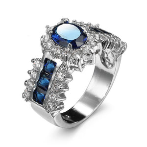 Fashion Jewelry 925 Sterling Silver Crystal Saphire Zirconia Rings for Women Gifts Size 6-10