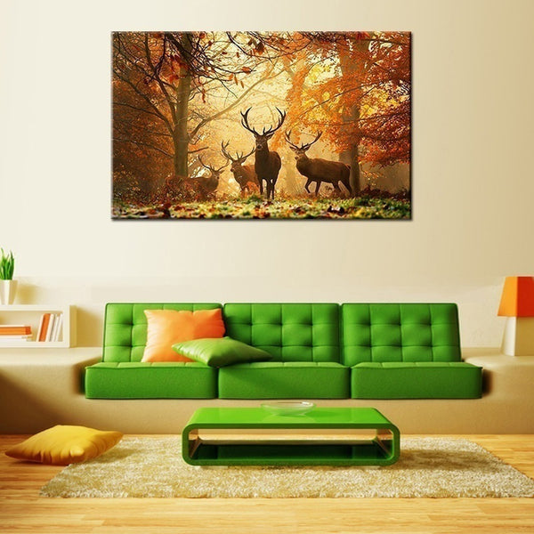 Deer Pattern  1set of 5pcs Wall Painting Modern Abstract Wall Art Decor Oil Picture on Canvas for Home Living Room Stickers