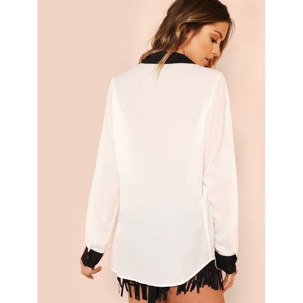 Curved Hem Embroidered Color Block Shirt