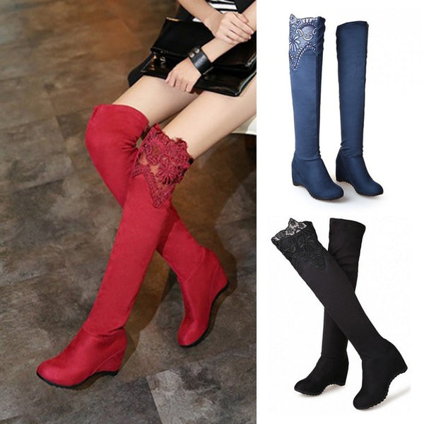 Women Winter Elastic Bootie Boots Shoes Women Wedge Suede Leather Over The Knee Boots Lace Thigh High Boots Bootie