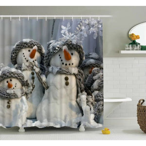 "Custom Christmas Snowman Bathroom Shower Curtain, Shower Rings Included 100% WaterProof Polyester Fabric 60 ""x 72"" Bath Shower C"