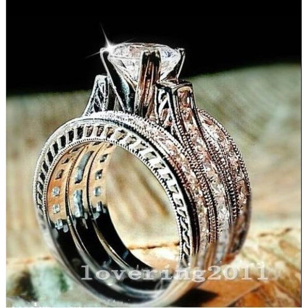 Vintage Diamonique Cz 14kt White Gold Filled 3-in-1 Wedding Band Ring Set Size 5-11
