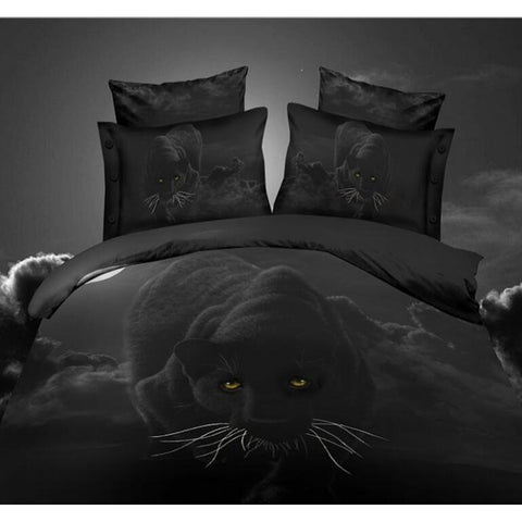 4PCS 3D Polyester  animal  Panther Bedding Set Prints Duvet Cover Set Queen Size 1PC Bed sheet/1PC Comforter Cover/2 PCS Pillow