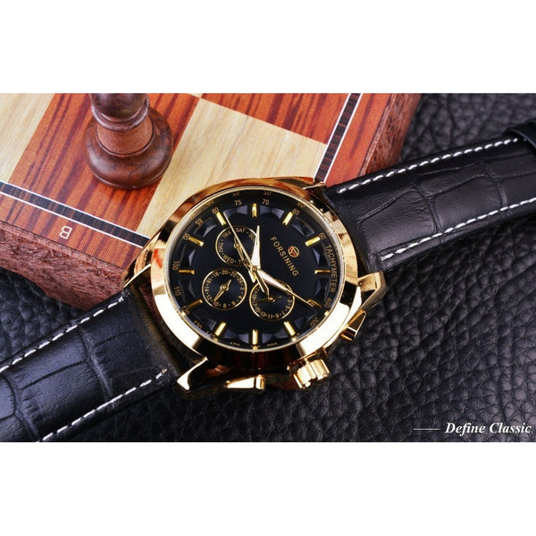 Forsining Autumn Fashion Designe Three Dial Decoration Watch Men Genuine Leather Vogue Exquisite Luxury Brand Automatic Mechanic